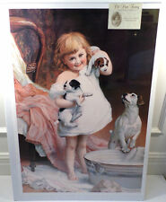 "Victorian Lithograph Print Picture ""A Watchful Eye"" Girl With Puppies Dog 16X23"