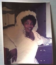FOUND COLOR PHOTO BLACK AFRICAN WEDDING DAY BRIDE IN GOWN WITH CURLY GREASY HAIR