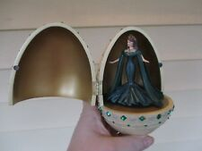 BARBIE Emperess of Emeralds Music Box Egg princess in green dress Brass Stand