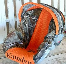 Realtree camo & orange minky infant car seat cover and hood / canopy cover w/emb
