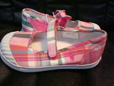 Polo Ralph Lauren Girls Sedena Mary Janes Pink Plaid Canvas Shoes NEW FREE SHIP