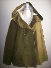 ZARA BROWN PARKA JACKET COAT WITH FUR AND HOOD SIZE L UK 12-14