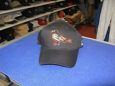 MLB-BALTIMORE ORIOLES-BLACK CAP WITH BIRD(ORIOLE) ON FRONT-ADJUSTABLE-SIZE S/M