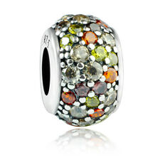 925 sterling silver Mosaic Pave Mixed Clear CZ Crystal charm bead fit bracelet