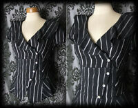 Gothic Black Stripe Cross Over Fitted STEAMPUNK Blouse 8 10 Victorian Vintage