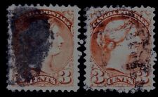 """Canada 3 Cents Small Queen - Major Re-Entry - Doubling at """"Postage"""" Letters  V/F"""
