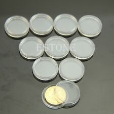 10 PCS 21mm Coin Storage Applied Clear Round Cases Capsules Holder Round Plastic