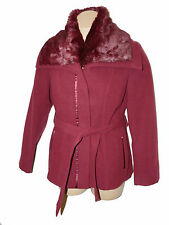 BNWT size 16 PER UNA M&S REMOVABLE FAUX FUR COLLAR COAT JACKET with BELT in WINE