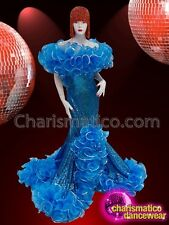 CHARISMATICO Blue sequinned ruffled drag queen diva gown