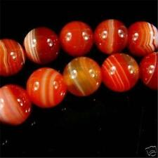 8mm Natural Red Stripe Agate Onyx Gems Round Loose Beads 15""