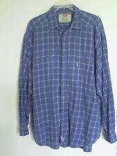 Vintage Levis Men blue  Plaid Long sleeve Thin Soft shirt  Size XL