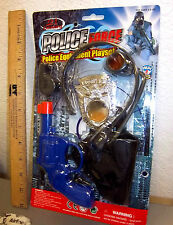 Police force toy equipment playset, toy pistol, whistle, pin, headset, holster
