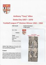 TONY ALLEN STOKE CITY 1957-1970 ORIGINAL HAND SIGNED NEWSPAPER PICTURE CUTTING