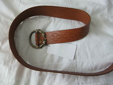 ZADIG & VOLTAIRE 4cm WIDE TAN LEATHER BELT BRASS TONED FEATURE BUCKLE HAND MADE