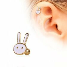 Cute White Bunny Cartilage Earring Gold Plated