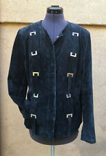 Vintage Terry Lewis Charcoal Suede Leather Jacket Coat Metal Gothic 1980s Small