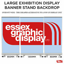 LARGE EXHIBITION DISPLAY 3 BANNER STANDS BACKDROP 1440dpi Printing (1200mm)