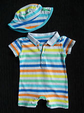 Baby clothes BOY 0-3m George bright stripe romper+hat NEW! COMBINE POST SEE SHOP
