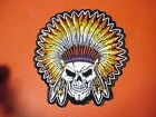 Indian Chief Skull Fully Embroidered patch Sew/iron on rider biker motorcycle