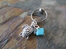 """Turtle & Turquoise Stone Chip Cartilage Piercing Captive Ring Tragus 14 G 1/2"""""""