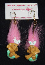 EASTER BUNNY RABBIT Russ Troll Earrings NEW IN BAG