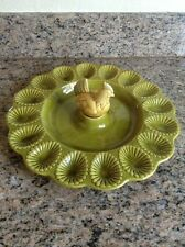 Vintage California Pottery Deviled Egg Dish With Nesting Hen