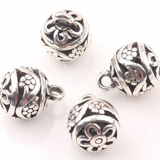 10Pcs Hollow Out Charm Tibetan Silver Flower Jewelry Loose Spacer Beads 10mm