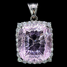 EXTREME 37.3 CT SOFT PINK KUNZITE & SAPPHIRE CUSHION STERLING SILVER 925 PENDANT
