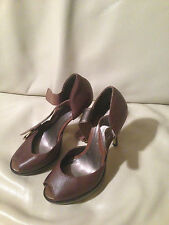 Brown nappa leather French Connection peep toe sandals UK6