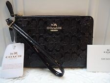 Coach Signature Debossed Patent Leather Wristlet  Black  F 55206 NWT $ 85