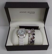 Anne Klein 12/2257SVST Silver Tone & White Ceramic 4 Piece Ladies Watch Set
