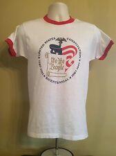 Vtg 1987 US Constitution Bicentennial Ringer T-Shirt White M Thin 50/50 Sneakers
