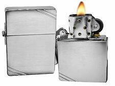 Zippo Lighter 1935 Replica With Slashes Brushed Chrome Windproof NEW