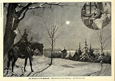 Auf Vorposten in der Christnacht ( F.Birkmeyer ) Dekorative Graphik 1895
