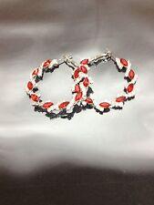Silver and Red Crystal Hoop Earrings