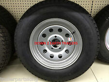 "15"" 5on5 BP Trailer Rim / LoadStar Tire Wheel Assembly Silver Mod 205/75D15"