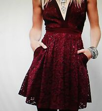 Free People Lovely in Lace Mini Dress, Burgundy, Medium