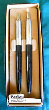 PARKER JOTTER  BLACK BALLPOINT PEN &  0.5 PENCIL SET  BRASS NEW IN BOX  ENGLAND