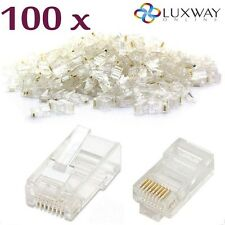 100x RJ45 RETE LAN CAT6E Estremità Cavo Spina Crimpare Connettore PIN DORATI BULK BUY