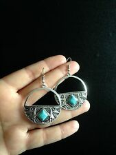 Turquoise Earrings Silver Hippie Ethnic Boho Belly Dance Tribal Bohemian
