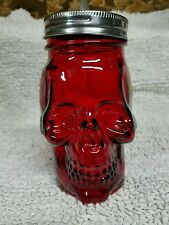 "Red Skull Bone Face Glass Mason Jar Tumbler Lid Straw 6"" New"