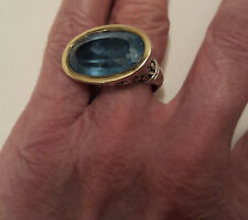 Beautiful JOHN HARDY Sterling Silver & 18K Gold east-west Oval Blue Topaz Ring
