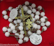 "† HTF UNIQUE ANTIQUE ""SOUVENIR LOURDES"" MILK WHITE GLASS ROSARY & RARE MEDALS †"