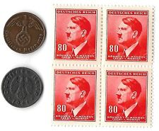 Rare Old WWII Nazi Germany Swastika Coin Adolf Hitler Stamp Collection War Lot