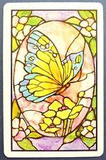 SWAP CARD. BUTTERFLY & FLOWERS LEADLIGHT WINDOW DESIGN. WESTERN USA. MINT COND