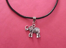 Black Leather Choker Necklace with Silver Lucky Elephant Charm - New - UK Seller