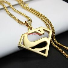 New Design Gold Superman Pendant Necklace Mens 316L Stainless Steel Cool Jewelry