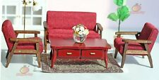 Wood 4pcs Sofa Chair End Table In Red Couch Model Set 1:12 Dollhouse Miniature