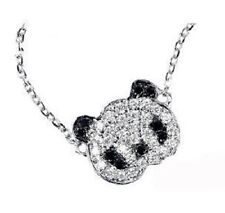 Super cute small silver tone crystal panda necklace