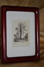 """MINIATURE etching engraving PEARBLOSSOM signed RF image 2"""" x 3"""" TREE"""